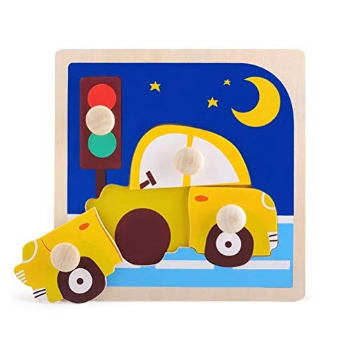 GAO SHOP Wooden Puzzle Board Toy Building Blocks Baby Early Education Intelligence Car Animal Transportation Assembling Safety Hand Grasping Children Cognitive Color Vehicle Puzzle