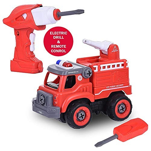 Novania Construction Take Apart Trucks Toy Cars SetDump Truck Fire Engine TruckExcavator with ScrewdriverElectric DrillConstruction TractorDrum Compactor for Kids Boys Toddlers Girls