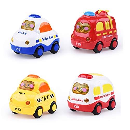 Beville Pull Back Cars for Toddler Boys & GirlsSet of 4 Pack Kids Early