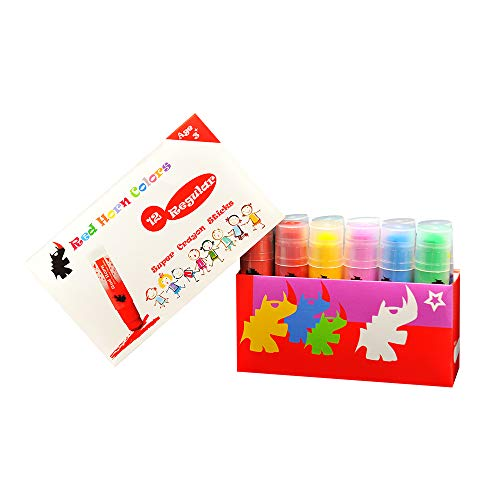 Red Horn 12 Colors Crayon Sticks SCS01 Solid Tempera Paint for Kids Classrooms or Pre-Schools Non-Toxic Ultra Clean Washable No Mess-Up Super Smooth Twist-Up Crayons Regular