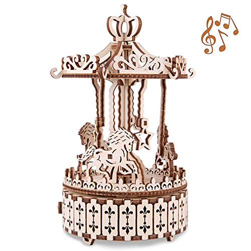 GuDoQi 3D Wooden Puzzle Spinning Carousel with Music Box Mechanical Model Craft Kit for Teens and Adults DIY Assembly Toy Desk Decoration