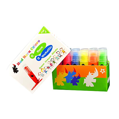 Red Horn 12 Colors Crayon Sticks SCS03 Solid Tempera Paint for Kids Classrooms or Pre-Schools Non-Toxic Ultra Clean Washable Super Smooth Twist-Up Crayons 6 Metallic and Neon
