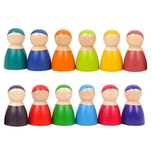 Betfandeful Rainbow Friends Peg Dolls Wooden 12 Creative Puppet Children Baby Early Education Intellectual Building Blocks Toys
