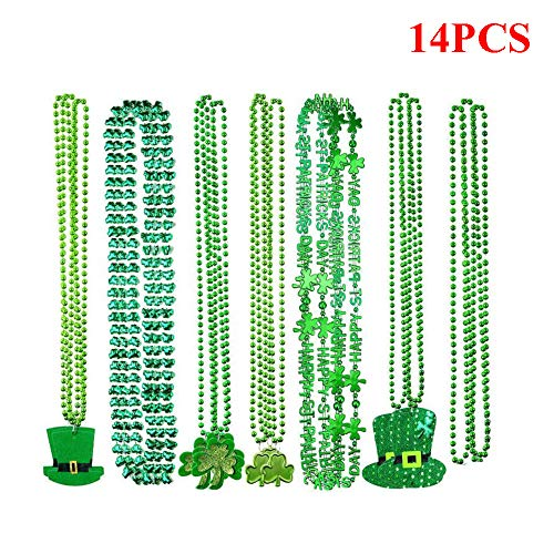 Kungfu Mall 14PCS St Patrick's Day Necklace Green Shamrock Beads Necklaces Party Favor Mardi Gras Costume Accessory Supplies Decoration