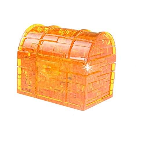 FINEjuyudd 3D Crystal Puzzle Treasure Chest Model DIY Gadget Blocks Building Toy Gift Playthings Orange