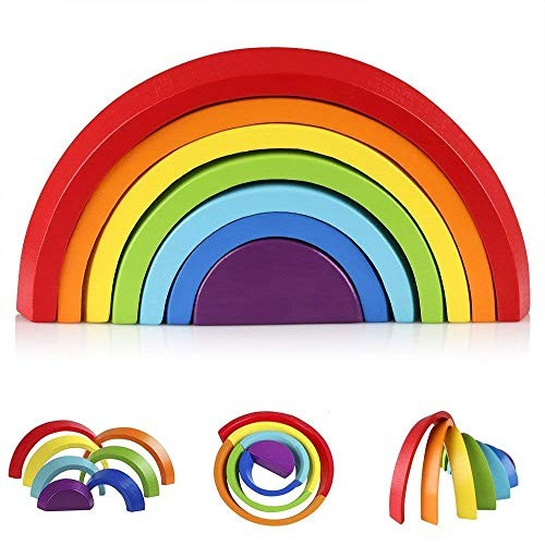 Afunti Wooden Rainbow Stacking Game Learning Toy Geometry Building Blocks Educational Toys for Kids Baby Toddlers Rainbow