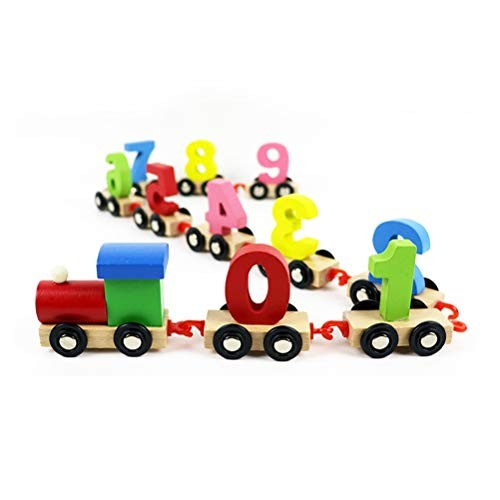 GAO SHOP Children's Educational Drag Train Toy Wooden Early Education Disassembly Building Block Digital Combination Suitable for Infants Over 1 Year Old