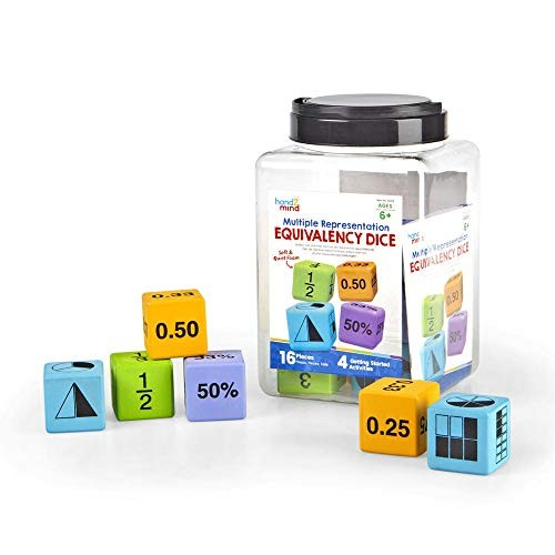 hand2mind Math Activity Dice Set Foam Equivalency for Kids Ages 6-10 6 Sided Die Represents Decimal Percent Area Model Or Tradition Fraction Early Homeschool Supplies Set of 16