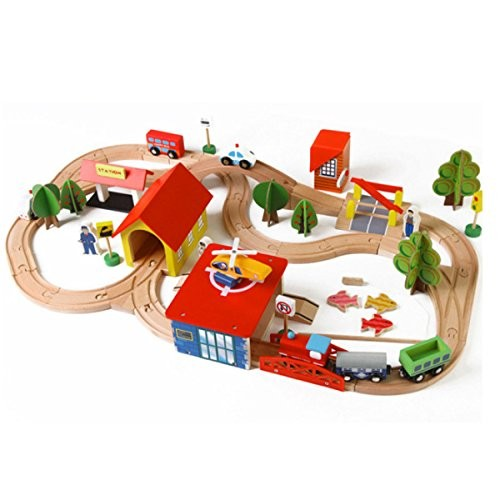 ZFF Children's Toys Beach Wooden 69 pcs Track Assembled Building Blocks Small Train Gifts for Children