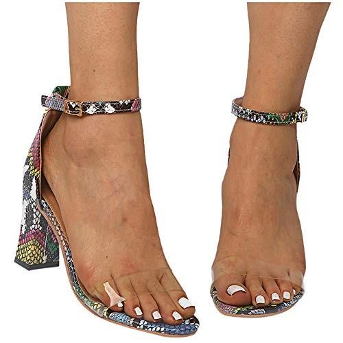Sandals for Women Wide Width HeelsAnkle Strap Snakeskin Adjustable Buckle Clear Block Chunky High Heel Open Toe Sandal Green