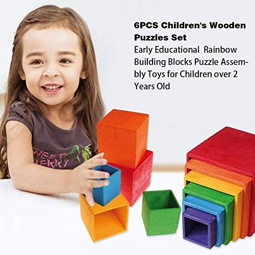 Supicity 6PCS Rainbow Stacker Toy Wooden Blocks Game Learning Geometry Building Stacking Educational Puzzle Toys for Children Over 2 Years Old advancement
