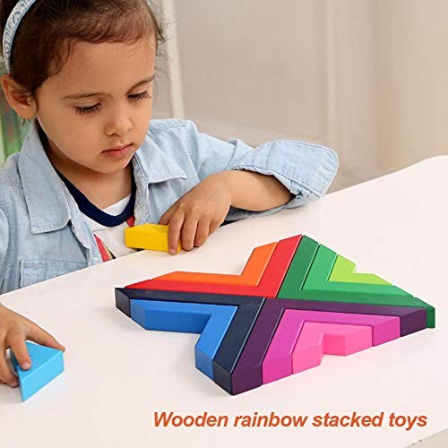 settlede Rainbow Building Blocks Wooden Stacked Right Angle Geometric Early Learning Toys 3D Puzzle Educational for Kids Stacking Games