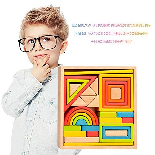 benefit-x Building Blocks Toys Wooden Rainbow Stacking Toy Large Nesting Puzzle Educational Magnetic Tiles for Kids Toddlers Children Games Gift