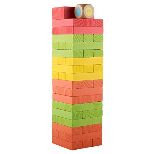 donado Wooden Stacking Board Games Building Blocks Colored Tower Toys Playset with 54 Pieces for Kids Aged 3+