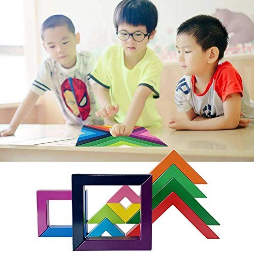 weemoment Building Blocks Toys Rainbow Stacking Wooden Educational Toy 3D Puzzle Magnetic Tiles for Kids Toddlers Children Games Gift Reliable