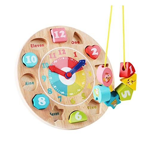 GAO SHOP Shape Classification Clock Wooden Toy Beaded Digital Building Blocks Early Education Puzzle Suitable for Children Over 3 Year Old Creative