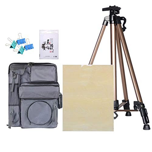 Easel Picture Frame Folding Multi-Function Art Tripod Drawing Bag Sketch Three-Piece Easy to Carry for Outing Color Brown