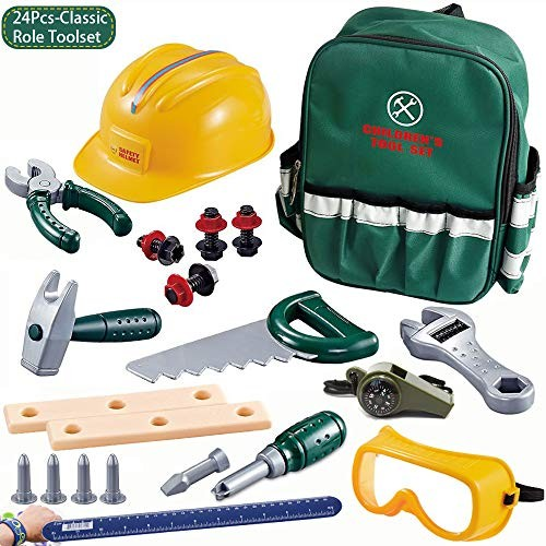 Helmet Cosplay 24PCS Pretend Play Construction Toys Kid for ToddlersCraftsman Realistic Tools Plus Whistle and Pat Ring RulerHard HatGoggleswith A Portable Tool Bag Backpack 2- 8 Years Old