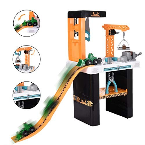 Jinjin Engineering Tool Bench Track Car Kids Pretend Play Construction Toy Workbench for Toddlers Set As Shown