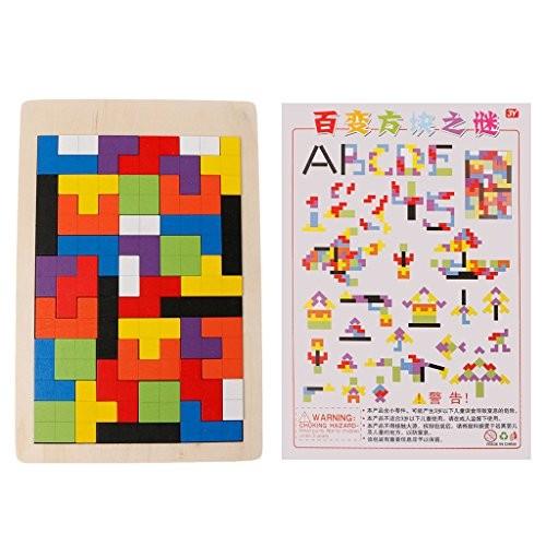 Dayloveme Kids Educational Toy Wooden Puzzle Game Jigsaw Tangram Building Block