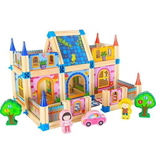 Wooden Building Toys for Kids123 Pieces DIY Construction House Blocks Set Educational Great Christmas Birthday Gift Year Old Girls and Boys