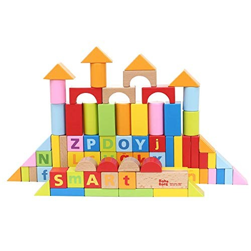 Babe Rock Wooden Building Blocks Set for Toddlers Basic Educational Build & Play Toy 80 Brightly Colored Pieces in Assorted Shapes and Sizes Ivy-1