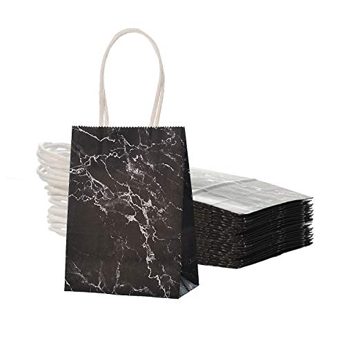 AWELL Small Marble Black Paper Bag with Handle Party Favours 6x45x25 inch for Wedding Birthday Recycled Pack of 24