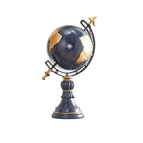 DERTHWER-OF World Globe Retro with Stand Office Home Decor for Adults Educational Gift Perfect Child Color Blue Size 24x19x405cm