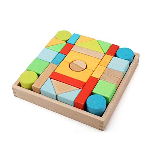 GAO SHOP Wooden Building Blocks Set Children's Educational Toys Assembled Early Education Creative Christmas Ceremony Suitable for Babies Over 1 Year Old