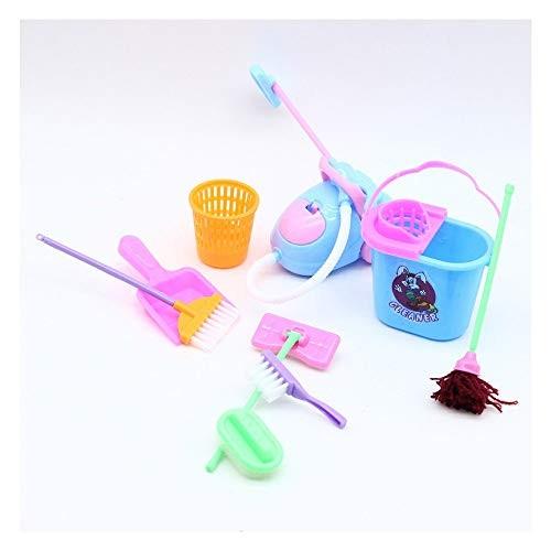 Anyren 9Pcs Children Pretend Play Cleaning Kit Dollhouse Tool Mini Broom Mop Playset Perfet Gifts on ThanksgivingBirthday