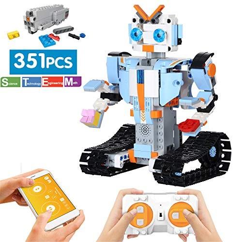 ritastar STEM Robot Building Kit APP Remote Control Bricks DIY Smart RC Tracked Robotics Engineering Educational Learning Toy for Kids to Build Intelligent Gift 351pcs Blocks