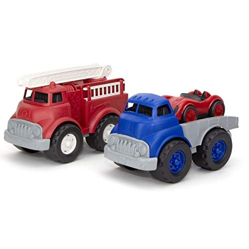 Green Toys Fire Truck with Flatbed Truck & Race Car Model:FIFLTK-1422