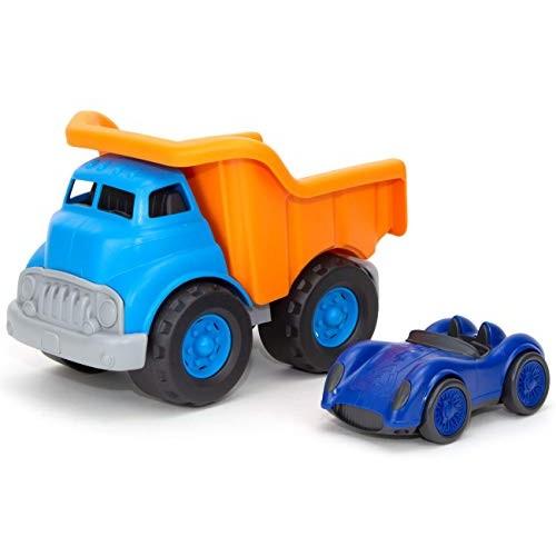 Green Toys Dump Truck Orange w/Blue Race Car