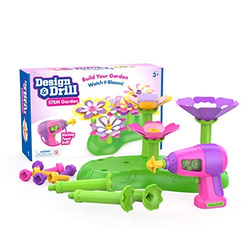 Educational Insights Design & Drill STEM Garden Flower Building Toy 37 Piece Set