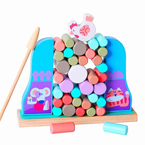 Arkmiido Wooden Stacking Blocks Game Hen Balancing Block Building Educational Toys for Boys and Girls 37PCS