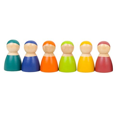 Toyvian 6PCS Small Wooden Dolls Toy Colorful Toddler Toys Building Blocks Doll Educational Plaything for Children Random Color