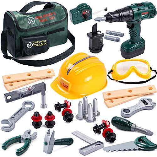 Toyssa Kids Tool Set 32 pcs Tools for Construction Kit Toddlers Boys Age Years Old with Crossbody Bag