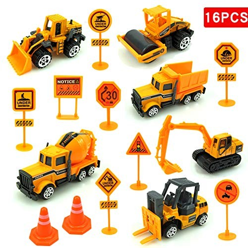 heaven2017 Construction Toys Set 16 Pieces Excavator Engineering Digger Vehicle Road Signs for Kids Toy Play