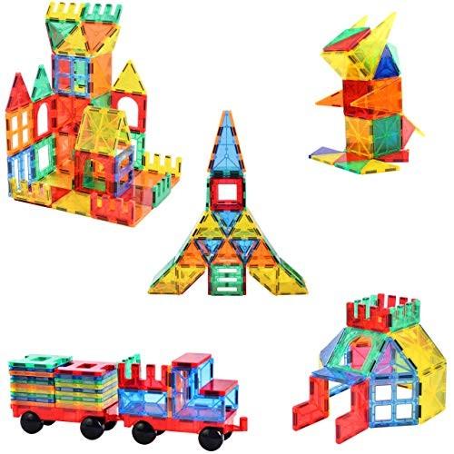 120pcs Blazing Studio Magnetic Tiles with CAR Strongest Magnets Storage Bag Sturdy Safe Construction Children's 3D STEM Toy