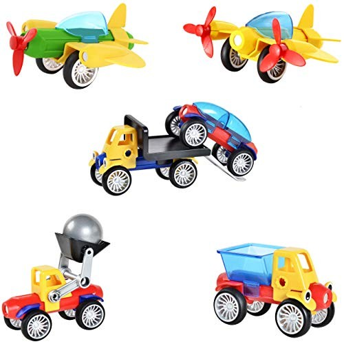 Blazing Studio 42 PCS 3D Take Apart Magnetic Automobile Race Cars Planes Buldozer Construction Vehicle Set to Develop Creativity Imagination in Architecture Geometry – Forty Two Pieces STEM Toy