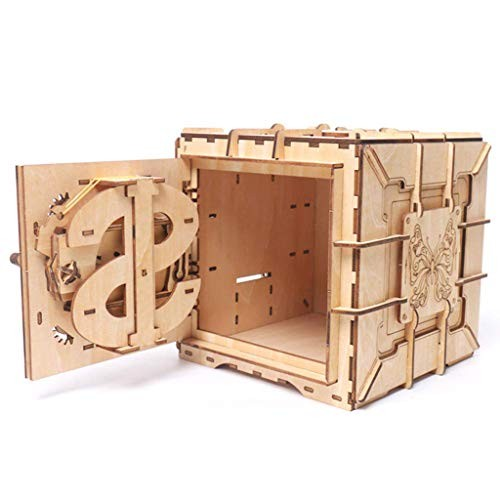 Jinjin Creative Wooden Jigsaw Puzzle Box Building Block Treasure Chest Educational Toy Bank Brain Teaser IQ Game Tool-Models Brown