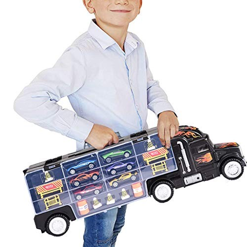 Jaromepower Kid's Educational-Toys Alloy Tow Truck Equipped with 6 Cars and Roadblocks
