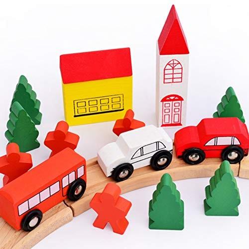 heaven2017 Wooden Building Blocks Sliding Car City Track Kit Kids Toy