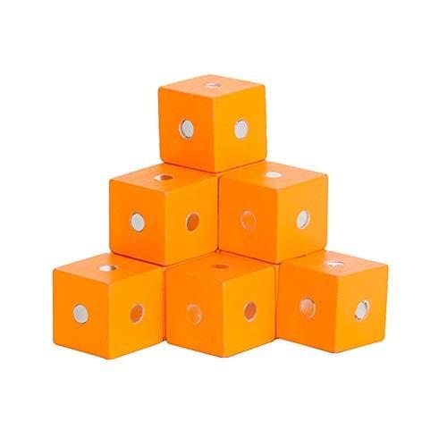 FAgdsyigao 10Pcs Children Playing Building Blocks Toy Wooden Magenetic Cubic Bricks DIY Educational Kids Orange