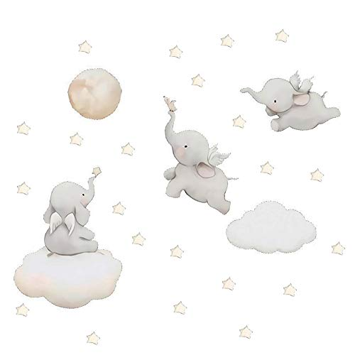 MASCARE Flying Elephant Wall Decal Animal with Cloud Moon Star Sticker Dumbo Art Decor for Kids Bedroom Baby Nursery Removable Home Background Decoration