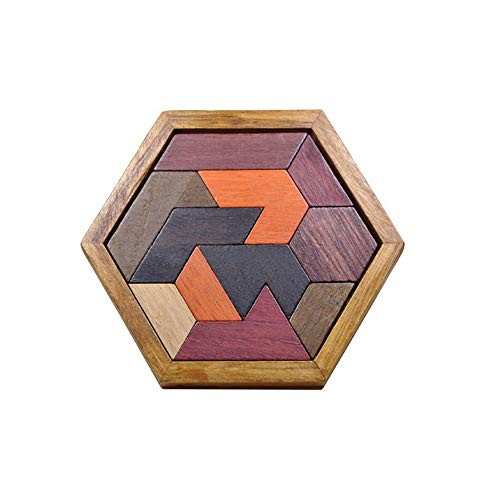 Toddlers Building Block Set Children's Educational Toys Colorful Wooden Brain Training Geometric Tangram Puzzle Color Color Size Free Size