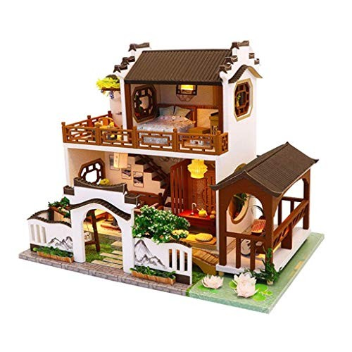 Pkjskh Chinese Style DIY Toy Set Creative Handmade Wooden Cabin Building Blocks Toys Model The Best Gift for Children with Lights and Music