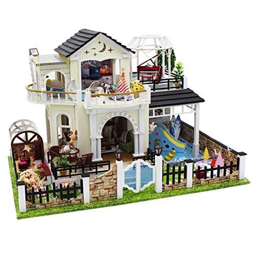 Pkjskh Wooden Doll House Building Blocks Educational Toys Hand-Assembled Model DIY Cottage with Led Light Gadget Best Birthday Valentine Gift 44 30 275Cm