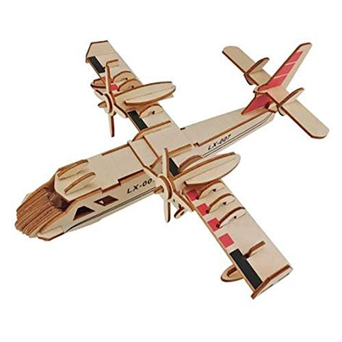 Wooden Model 3D Airplane Puzzle Building Blocks DIY Educational Toy Children Christmas Birthday Gifts Puzzles