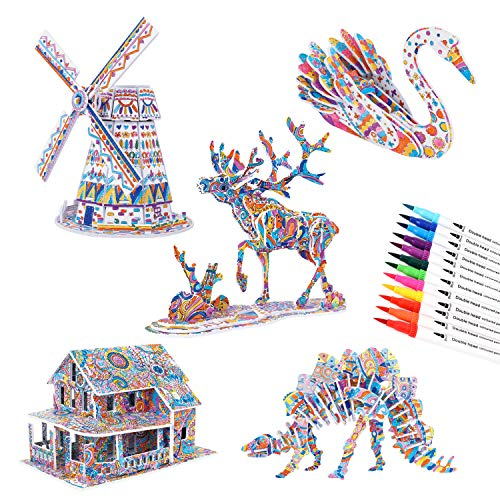 BEARUN 3D Coloring Puzzle Set Arts And Crafts For Girls Boys Age 6 7 8 9 10  11 12 Year Old Fun Educational Painting Kit With Supplies Kids Birthday Toy  Gift 5-Pack - Educational Toys Planet